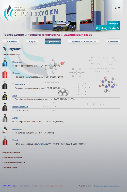 Страница продукции www.strin86.ru