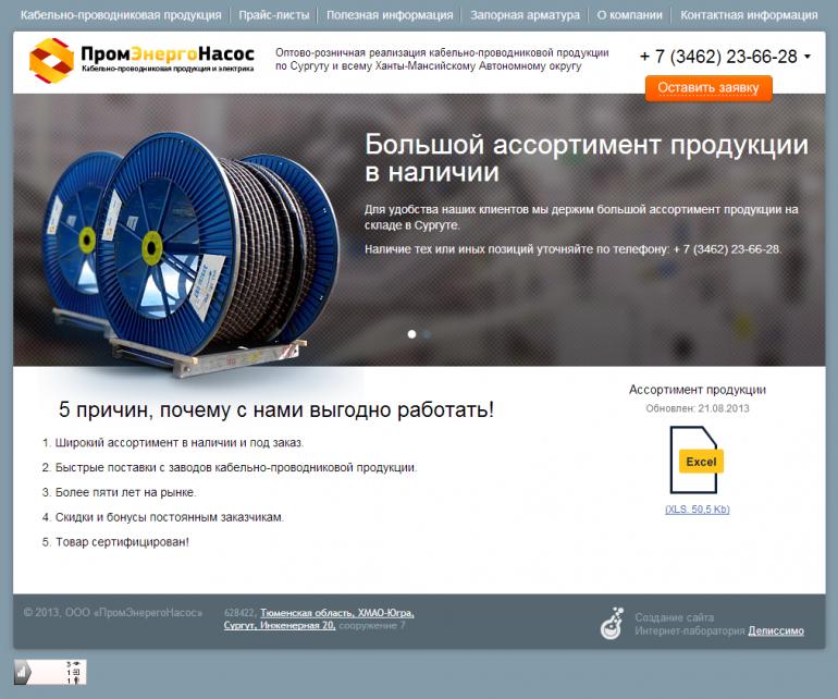 Главная страница сайта промэнергонасос.рф