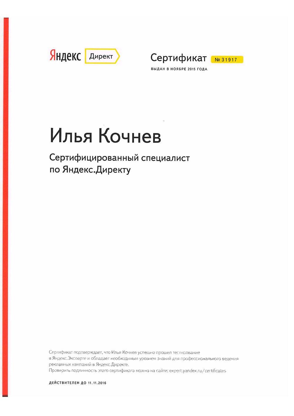 Илья Кочнев. Сертифицированный специалист по Яндекс.Директу 2016.