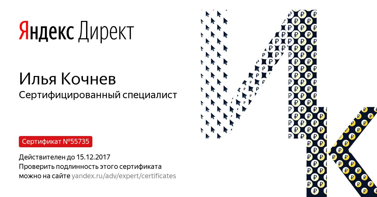 Илья Кочнев. Сертифицированный специалист по Яндекс.Директу 2017.